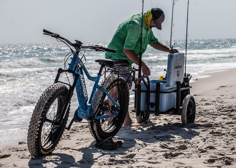 electric hunting bike by rambo bikes standing by the sea