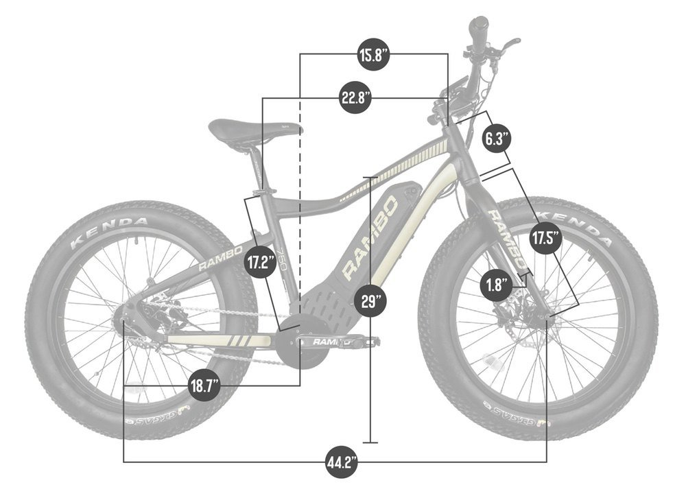 Rambo Ryder 750w electric bike dimensions
