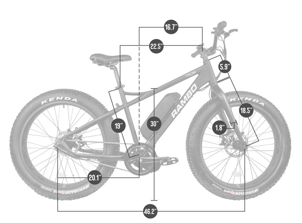Rambo Savage 750w Electric Bike Dimensions